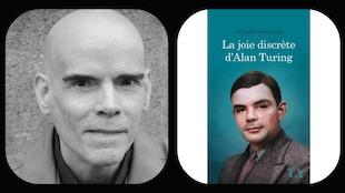 Jacques Marchand(gauche) et la page couverture de son livre « La joie secrète d'Alan Turing » (droite)