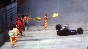 La voiture d'Ayrton Senna après l'accident fatal