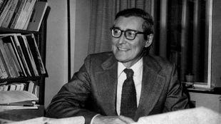 Fernand Dumont, photographié alors qu'il était lauréat du Grand prix de 1969 pour <em>Le lieu de l'homme</em>