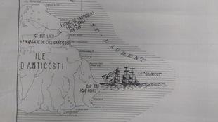 Carte maritime de l'île d'Anticosti où l'on retrouve la bateau nommé «le Granicus» ainsi que Fox Bay, l'endroit où a eu lieu le massacre de l'île d'Anticosti.