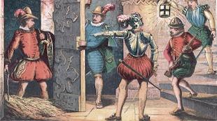 Illustration qui montre des gardiens arrêter Fawkes dans la cave du Palais de Westminster