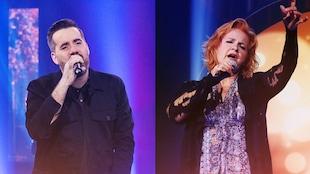 Dans un photo-montage, l'animateur Jean-Sébastien Girard et la chanteuse Marie Denise Pelletier chantent avec un micro à la main.