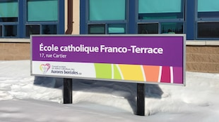 L'affiche de l'école catholique Franco-Terrace à Terrace Bay