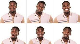 Six images d'un même homme qui fait différentes expressions faciales.