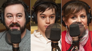 Mathieu Gratton, Benjamin Gratton et Patricia Paquin au micro de Catherine Perrin.