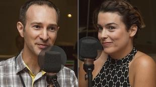 David Lafrenière et Marie-Pier Élie au micro de Stéphan Bureau.