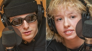 Hubert Lenoir et Noémie D. Leclerc au micro de Catherine Perrin.