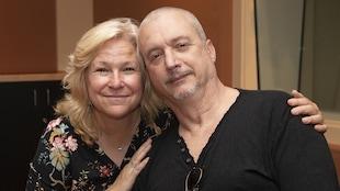 Lulu Hughes et Dan Bigras au studio 18 de Radio-Canada, à Montréal, le 3 septembre 2018.