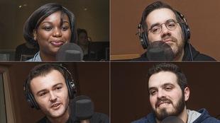 Rhene Marlène Onkirankouni, Jean-Sébastien Girard, Benjamin Auvray et Adel Sakkal au micro de Marie Grégoire