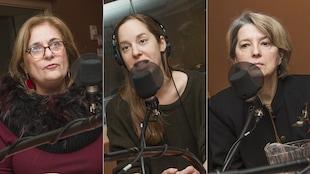 Nathalie Petrowski, Lili Boisvert et Pascale Navarro au micro de Catherine Perrin