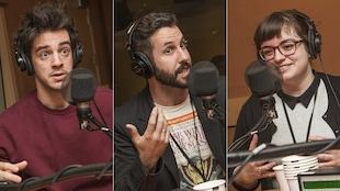 Pierre-Louis Renaud, Jean-Michel Berthiaume et Marie-Hélène Moreau au micro de Catherine Perrin