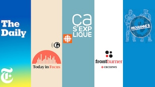 Les logos des cinq balados suivantes : «The Daily» du New York Times, «Today in Focus» de The Guardian, «Ça s'explique» d'ICI Radio-Canada, «Front Burner» de CBC et «Programme B» de Binge Audio.