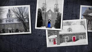 Montage montrant des photos de différents bâtiments patrimoniaux : une église, deux maisons canadiennes et un collège.