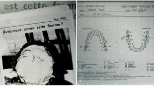 La photo de la noyée de la rivière des Prairies publiée dans « Allô Police », en page 3 de l'édition du 25 octobre 1953 ainsi que la fiche dentaire de Marie-Paule Rochette tirée de son dossier militaire.