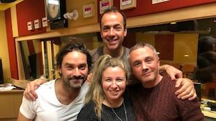 Guillaume Lemay-Thivierge, Pierre Brassard, Jessica Barker et Vincent Bolduc dans le studio de Pouvez-vous répéter la question?