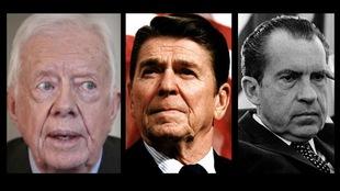 Montage photo montrant des gros plans des visages des trois hommes politiques.