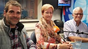 Sébastien Maltais, Sylvie Lajoie et Éric Émond en studio