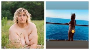 Un montage photo montrant une femme nue assise dans l'herbe à droite, et une femme nue de dos sur un bateau de croisière à gauche.