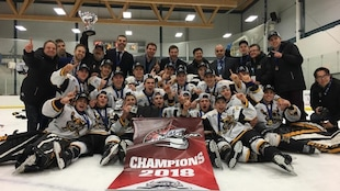 Photo d'équipe sur la glace avec la bannière de champions et le trophée.