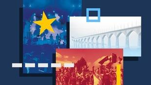Réinterprétation du drapeau acadien avec des images et des formes géographiques