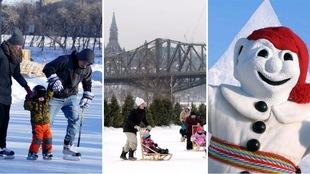 Montage de trois photos montrant la patinoire sur les Fourches à Winnipeg, des enfants poussés dans des luges avec le Parlement à Ottawa en arrière-plan et le Bonhomme Carnaval à Québec.