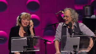Michèle Deslauriers et Philippe Lagüe sur scène.