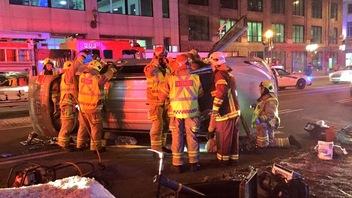 Deux blessés dans un capotage au centre-ville de Québec