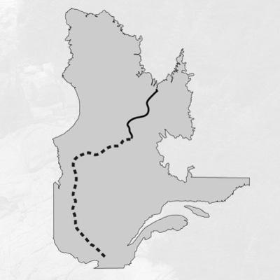 Carte du parcours à vélo et en canot de l'expédition Transtaïga de Samuel Lalande-Markon et David Désilets.