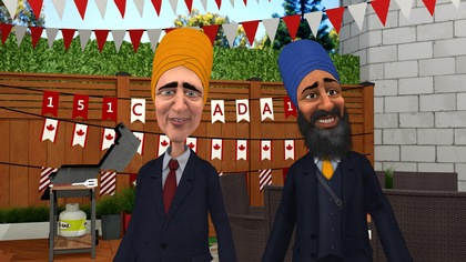 Dans une cour ornée de décorations à l'effigie du Canada, le premier ministre du Canada, Justin Trudeau, et le chef du Nouveau Parti démocratique, Jagmeet Singh, vêtissent un turban sikh coloré.