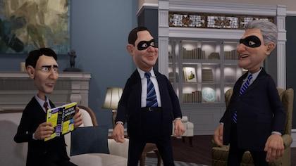Dans un salon, justin tient un livre et les deux autres portent des masques.