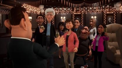 Justin Trudeau, Serge Chapleau, Céline Dion, Céline Galipeau et plusieurs autres personnages de l'émission ont un verre à la main devant Gérard D. Laflaque.