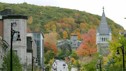 L'Institut Allan Memorial devant le mont Royal à Montréal, l'automne.