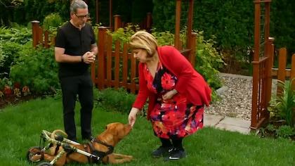 Anne-France Golwater donne à manger à son pitbull.