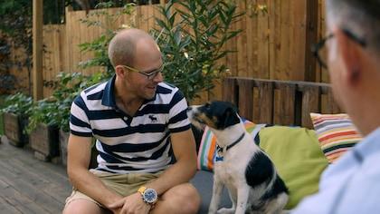 Martin regarde son chien Tom, un Parson Russell Terrier.