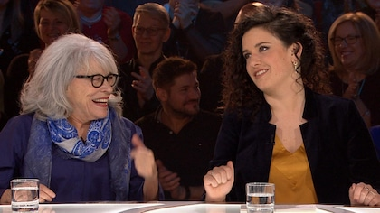 Virinie Fortin et Louise Forestier sur le plateau des Enfants de la télé