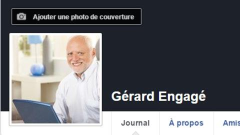 Capture d'écran de la page Facebook «Gérard Engagé», créée par Jeff Yates dans le cadre d'une expérience.