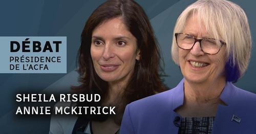 Image-titre du débat avec les portraits des deux candidates à la présidence de l'ACFA.