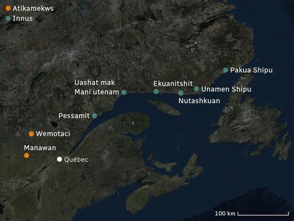 Carte identifiant deux communautés atikamekws et six communautés innues