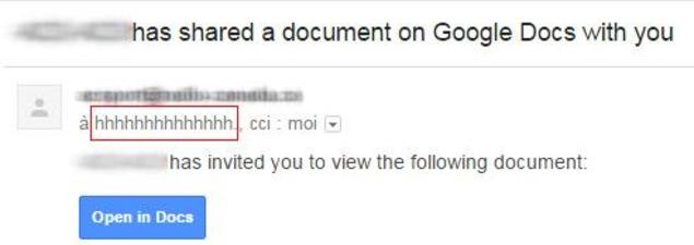 Une capture d'écran du courriel frauduleux sur Gmail montrant le nom du faux compte.