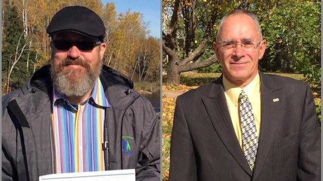 Stephan Lavoie (gauche) et Jean-Jacques Dupuis (droite), candidats à la mairie de Preissac.