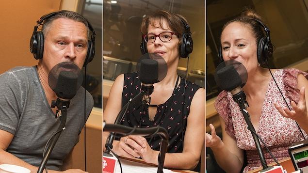 Alain Labonté, Catherine Dubé et Marie-Julie Gagnon au micro de Catherine Perrin