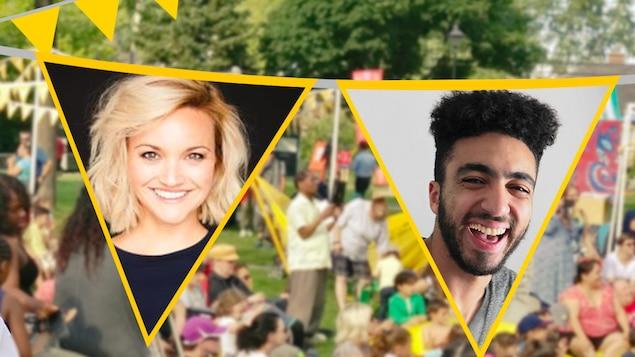 Julie Ringuette et Anas Hassouna devant une foule dans un parc.