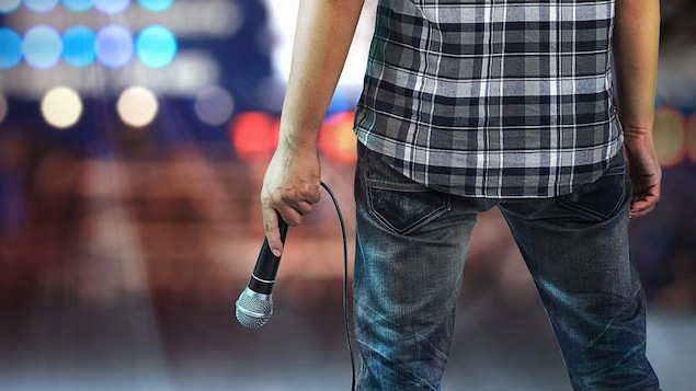 Un artiste vu de dos est sur une scène avec un micro à la main.