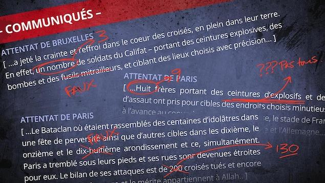 Extraits de communiqués de revendications d'attaques terroristes du groupe armé État islamique, où on voit plusieurs erreurs factuelles. Pour l'attentat de Bruxelles, on voit que le communiqué affirme que les assaillants ont utilisé des «fusils mitrailleurs», alors que c'est faux. Pour l'attentat de Paris, on voit qu'il y avait neuf assaillants et non huit, comme l'affirme le communiqué. Celui-ci parle aussi à tort d'une attaque dans le dix-huitième arrondissement, alors que ce n'est pas arrivé.