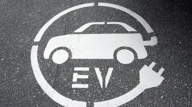 Symbole de borne de recharge pour voiture électrique peint sur la chaussée.