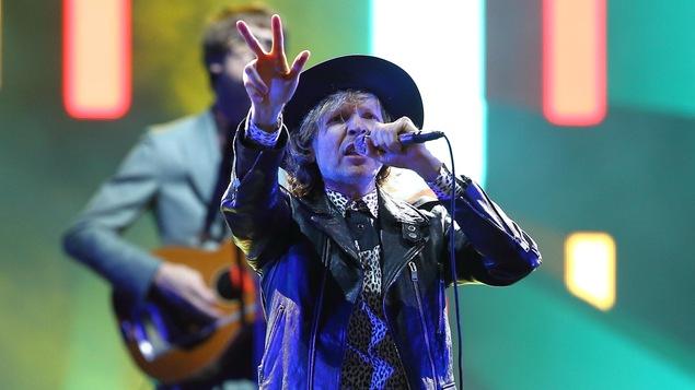 Le chanteur Beck lors de son passage sur les Plaines d'Abraham pendant le Festival d'été de Québec