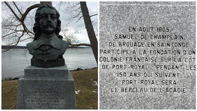 Un buste de Champlain et le texte en plan rapproché