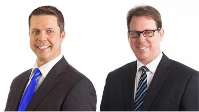 Les candidats à la direction du Parti progressiste-conservateur de l'Île-du-Prince-Édouard, Brad Trivers et James Aylward.