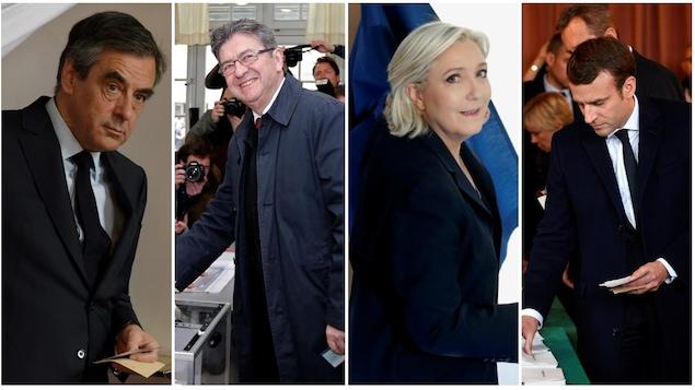 François Fillon Jean Luc Mélenchon Marine Le Pen et Emmanuel Macron ont tous voté dans le cadre du premier tour de l'élection présidentielle française de 2017