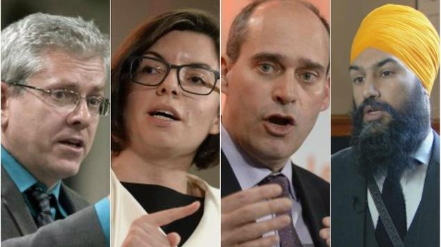 Les candidats à la direction du NPD : Charlie Angus,  Niki Ashton, Guy Caron et Jagmeet Singh